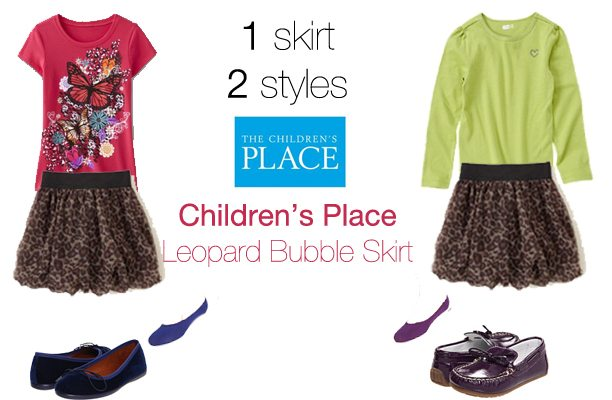 Wardrobe Wednesday: 1 Skirt, 2 Styles {Children's Place Leopard Print Bubble Skirt}
