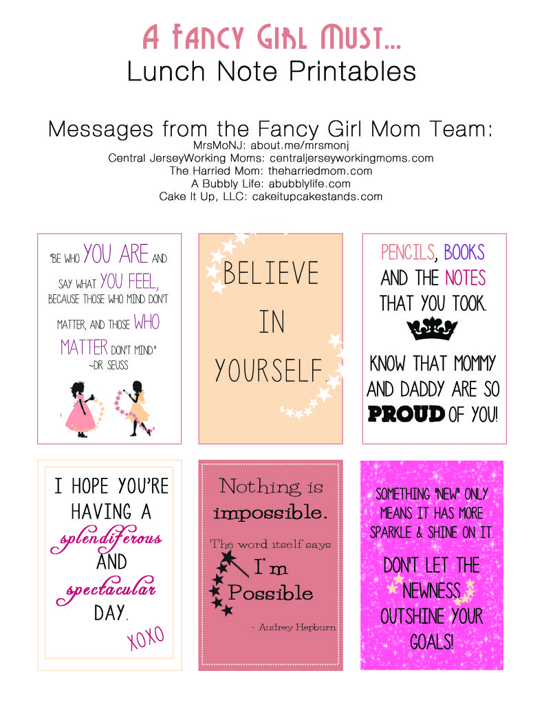 Lunch Note Printables from the Fancy Girl Mom Team