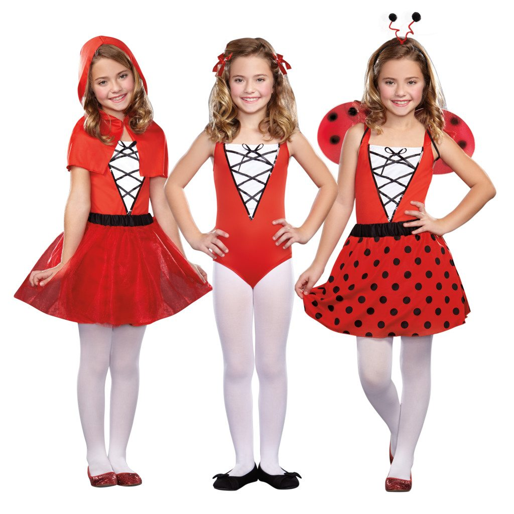 Non-Pink Halloween: Girls 3-In-1 Red Riding Hood Cheerleader Ladybug | AFancyGirlMust.com