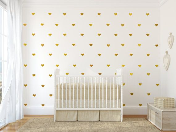 Gold heart vinyl wall decals, Jesabi on Etsy