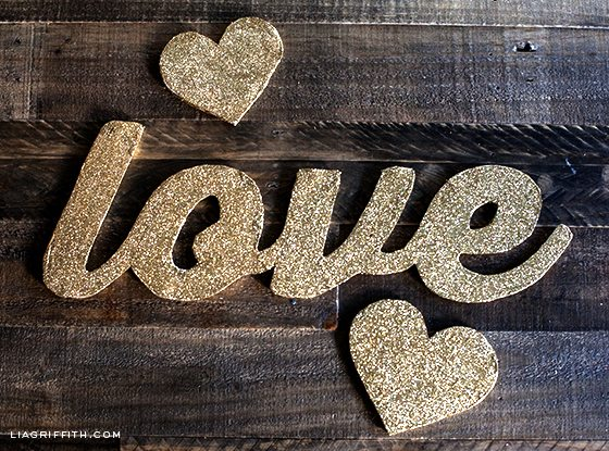 DIY Gold Glitter Letters by Lia Griffith