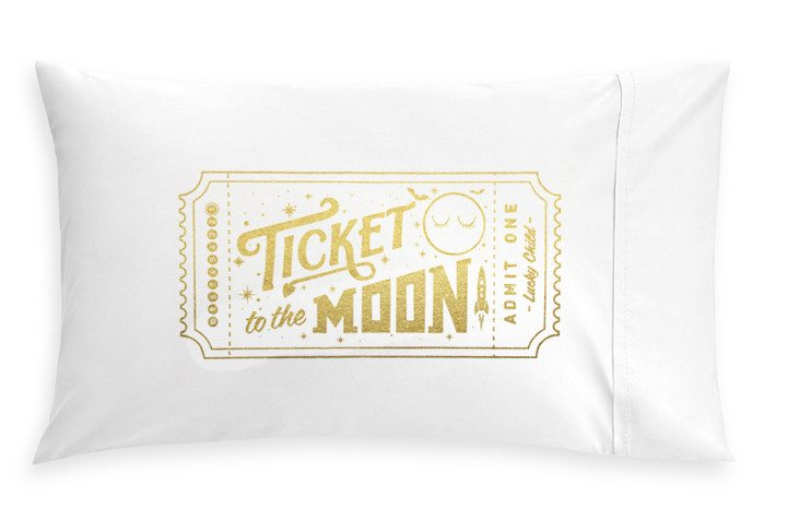 Golden Ticket to the Moon Pillowcase, Pop Factory