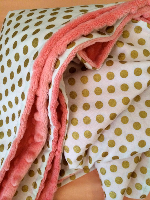 Gold Dot Baby Blanket, Dwell Darling on Etsy