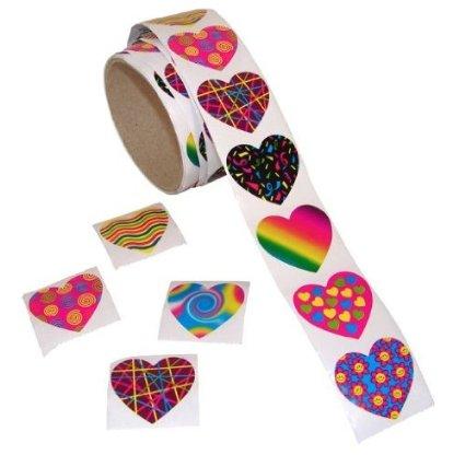 Fun Express Funky Heart Roll Stickers (100 Piece)