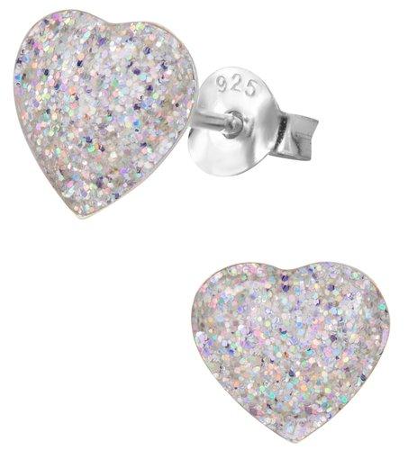 925 Sterling Silver Hypoallergenic Sparkly Silver Glitter Heart Stud Earrings