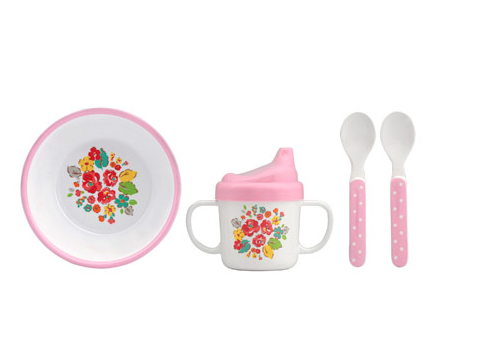 Woodland Rose Mini Melamine Nursery Set and Food Tray