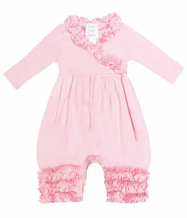 Lemon Loves Layette Infant Girls Olivia Romper - Rose Shadow Pink
