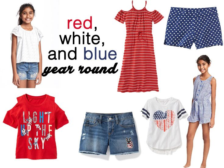 Old Navy red, white and blue looks for girls