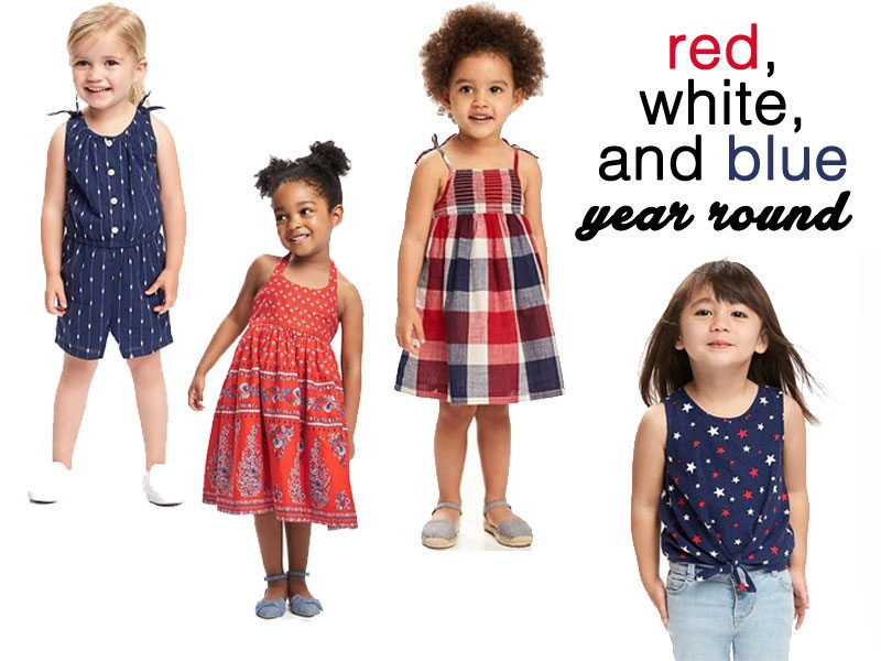 Old Navy red, white and blue looks for toddler girls