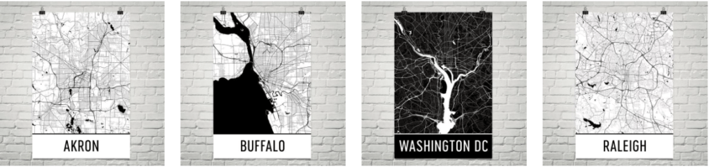 Modern Map Art city posters