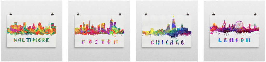 Modern Map Art skyline posters