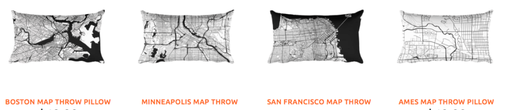 Modern Map Art city pillows