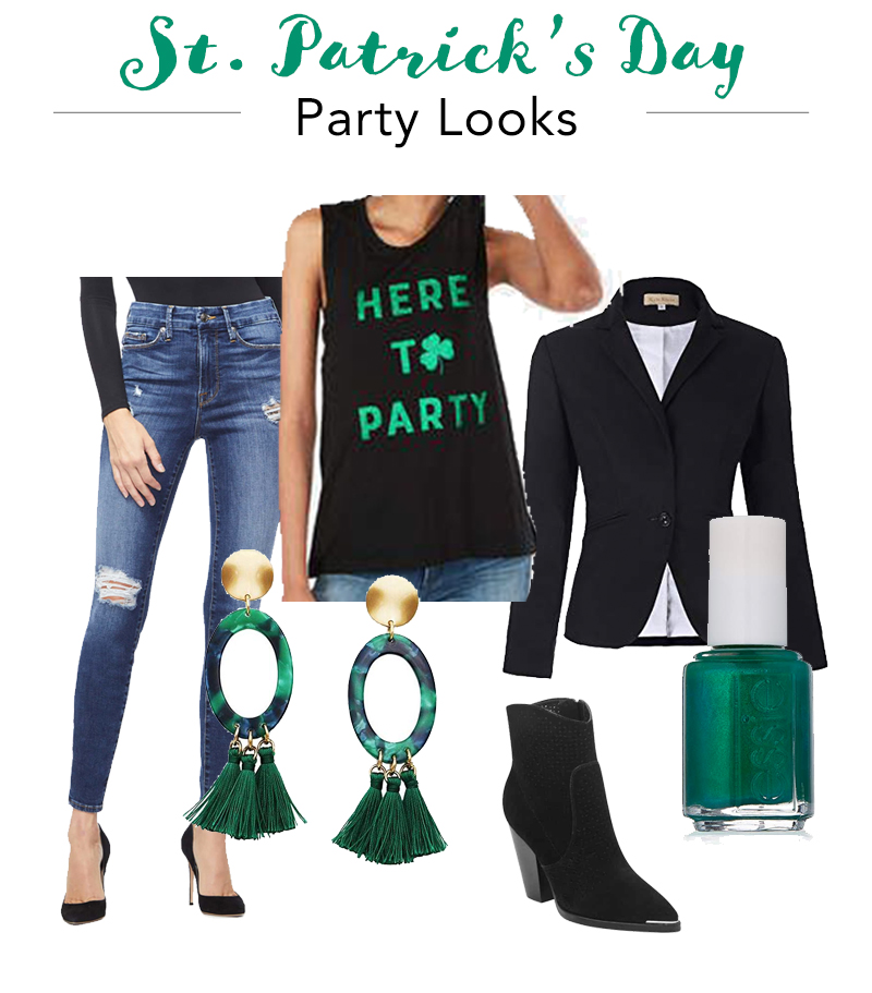 10a25309 Top: One Eleven Metallic Here To Party Graphic Muscle Tank, Express Any  black blazer. Earrings: Lucite Hoops with Tassel, Amazon Black ankle boots